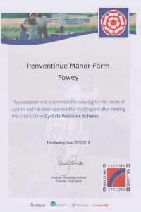 Cyclists Welcome to Penventinue Manor Farm